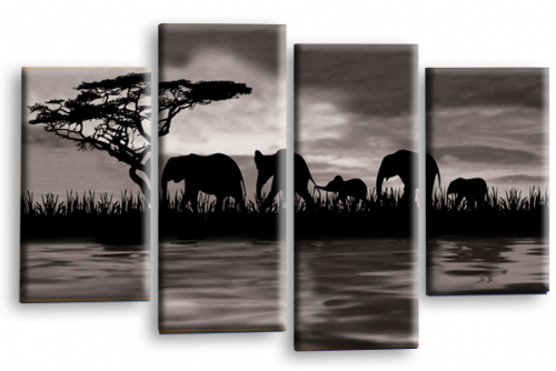 Sunset Elephant Canvas Wall Art Picture Grey Brown Cream
